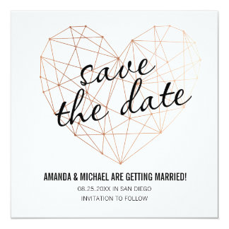 Modern save the date geometric rose gold heart card