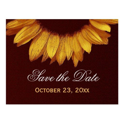 Modern Save the Date Gold Colored Sunflower v6 Post Cards