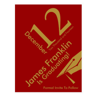 Modern Save The Date Graduation Red and Gold Postcard