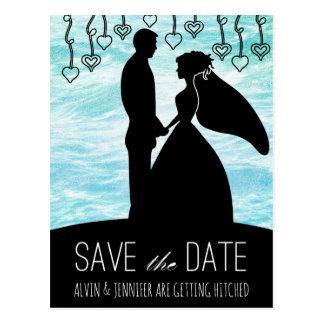 Modern Save the Date Ocean Water Blue Pastel Postcard