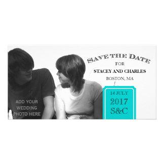 Modern Save the Date Photo Cards Aqua Blue