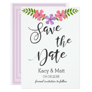 Modern Save the Date pink and purple flowers card