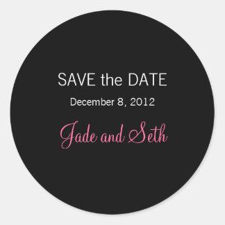 modern save the date round sticker