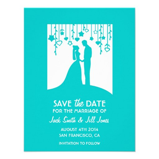 Modern Save the date - turquoise bride & groom Personalized Invitations