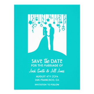 Modern Save the date - turquoise bride groom Personalized Invitations