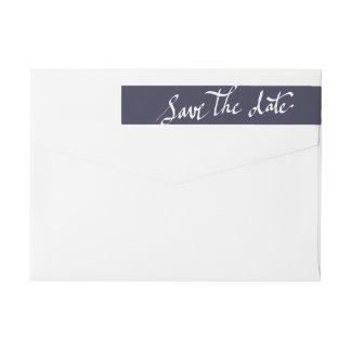 Modern Save The Date Typography Script Navy Blue Wrap Around Label