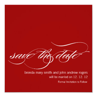 Modern Save the Date Wedding Announcements Red