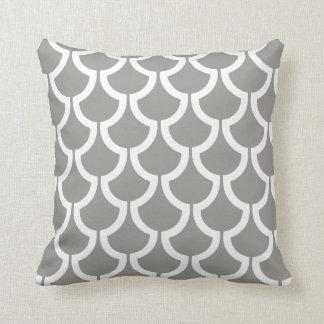 Modern Scales Geometric   grey white Throw Pillow