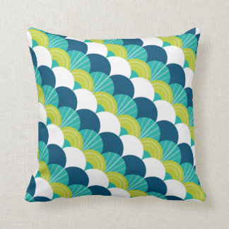 MODERN scallop fan pattern peacock lime jade green Throw Pillow