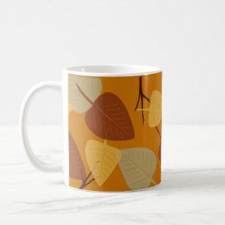 Modern scattered leaves autumn illustration basic white mug