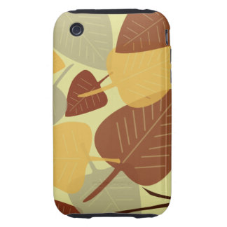 Modern scattered leaves branch autumn fall fashion tough iPhone 3 cover