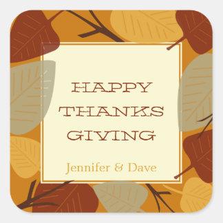 Modern scattered leaves thanksgiving celebration square sticker