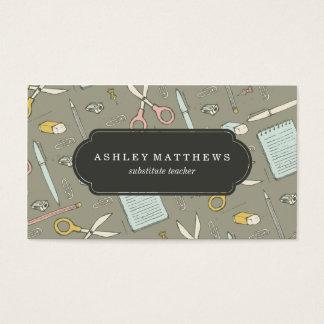 Modern School Supplies Pattern Business Card
