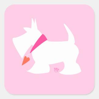 Modern Scottie in Pink Heart Collar Valentine Square Sticker