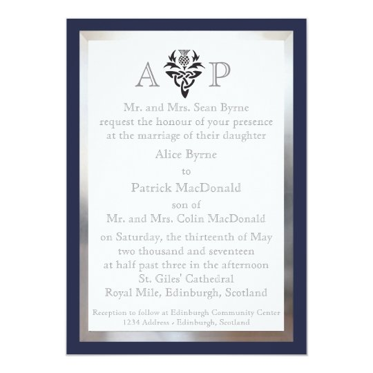 Modern Scottish Celtic Wedding Invitation - Navy