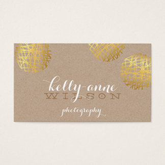MODERN SCRIBBLE SPOT cute gold bold sketch kraft Business Card