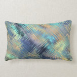 Modern Scribbled Plaid in Peacock Colours Pillow