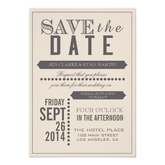 Modern Script Beige & Grey Save the Date