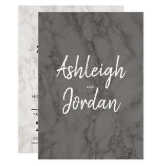 Modern Script | Elegant Marble Wedding Invitations