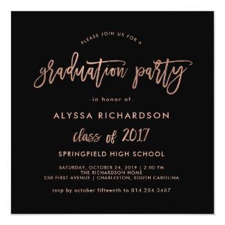 Modern Script | Graduation Party Faux Rose Gold Card
