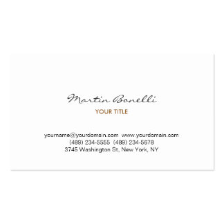 Modern Script Handwriting White Business Card