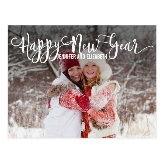 Modern Script Happy New Year's Photo Postcard