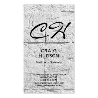 Modern Script Monogram Brick Wall Business Card
