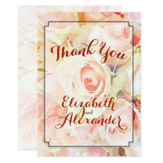 Modern Script Peach Floral Wedding Thank You Card