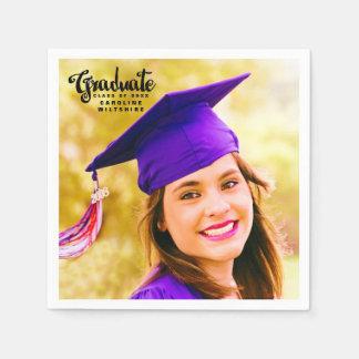 Modern Script Personalized Photo Graduation Disposable Napkin