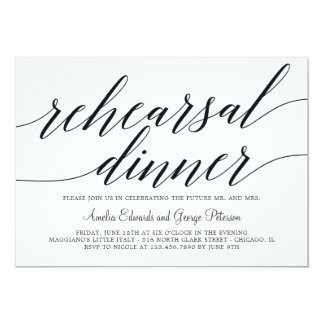 Modern Script Rehearsal Dinner Invitation