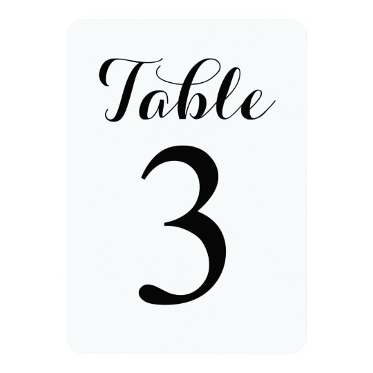 Modern Script Table 3 | Table Numbers Card