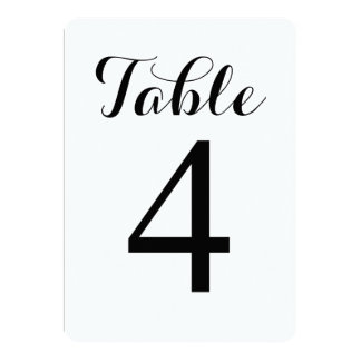 Modern Script Table 4 | Table Numbers Card