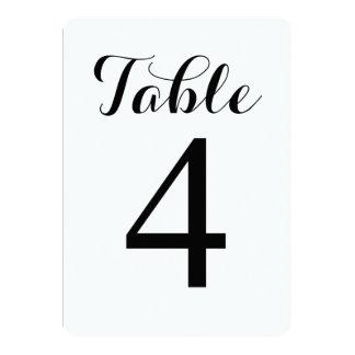 Modern Script Table 4 | Table Numbers Card 13 Cm X 18 Cm Invitation Card