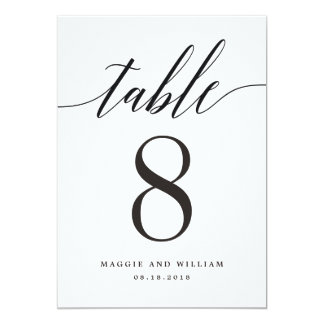 Modern Script Table Number Card