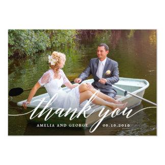 Modern Script Wedding Thank You Photo Card