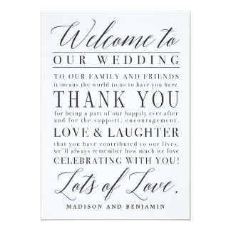 Modern Script Wedding Welcome Thank You Letter Card