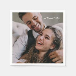 Modern Script with Photo Wedding Napkin Disposable Napkin
