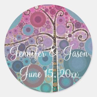 Modern Scroll Tree Wedding Invitation Seals Round Sticker