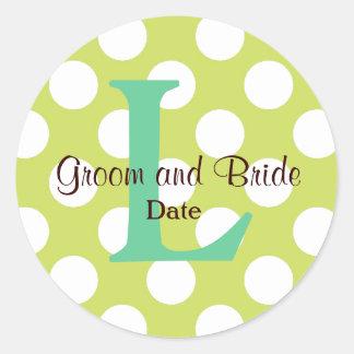Modern Seaside Wedding Monogram Sticker