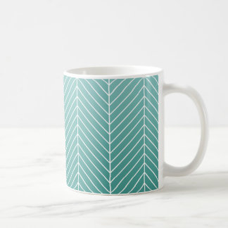 Modern Shaded Green Herringbone Chevron Zig Zags Coffee Mug