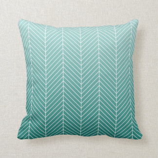 Modern Shaded Green Herringbone Chevron Zig Zags Cushion