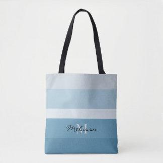 Modern shades of teal stripes monogram name tote bag