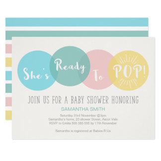 Modern She's Ready to Pop Baby Shower Invitation