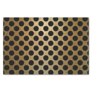 Modern Shiny Black and Gold Glitter Polka Dot Tissue Paper