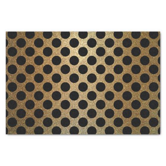 Modern Shiny Black and Gold Glitter Polka Dot
