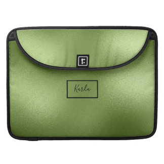 Modern Shiny Green Abstract Background Monogram Sleeve For MacBook Pro