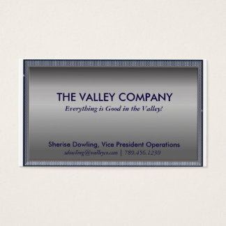 Modern Silver and Blue Plaid Business Card