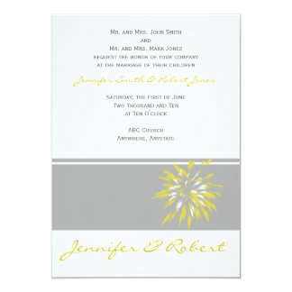 Modern Silver and Buttercup Flower Invitation