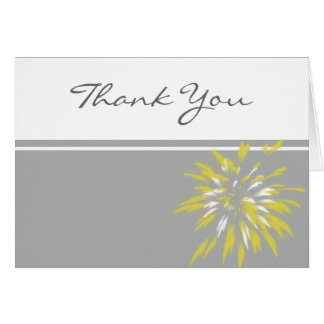 Modern Silver and Buttercup Flower Thank You Greeting Card