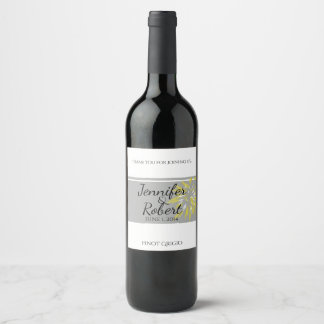 Modern Silver and Buttercup Flower Wine Label